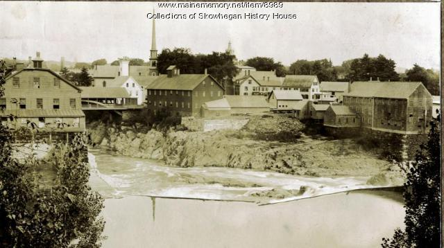 Skowhegan Island, from Elm Street, about 1900