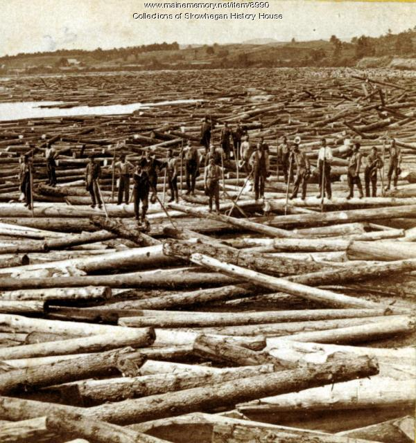 Massive log jam at Pishon's Ferry, Skowhegan, ca. 1870