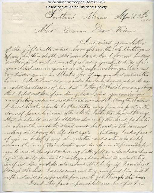 Letter concerning brother's death, Portland, 1865