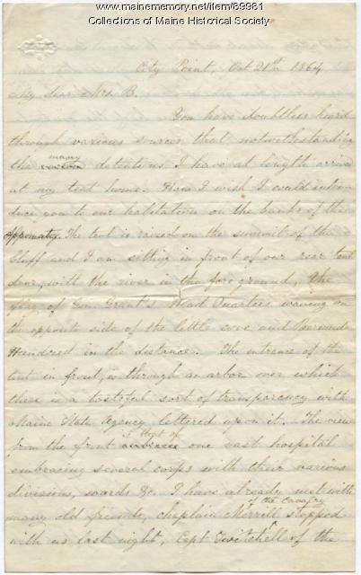 Harriet Eaton on arrival in Virginia, 1864
