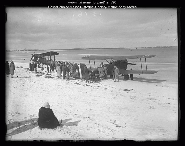 Biplanes on the beach, ca. 1927