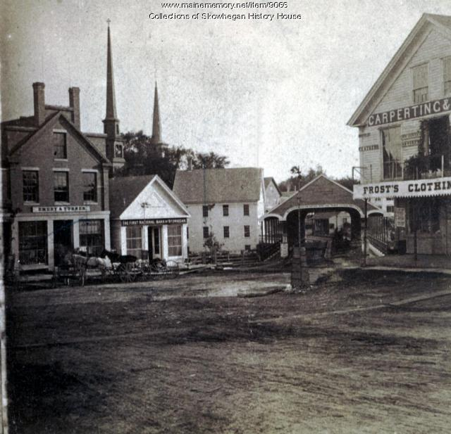 Water Street and Old North Channel Covered Bridge, Skowhegan, ca. 1869