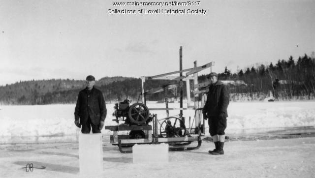 McDaniels, Brooks ice-cutting machine, Kezar Lake, Lovell, ca. 1926