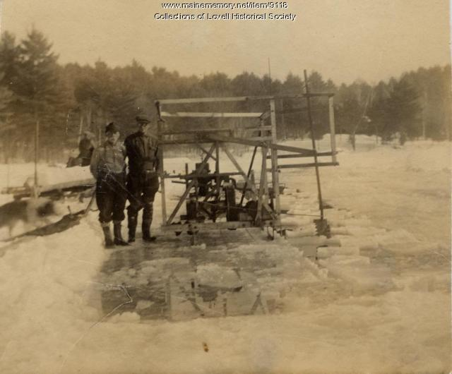 McDaniels and Brooks cutting ice, Lovell, ca. 1926