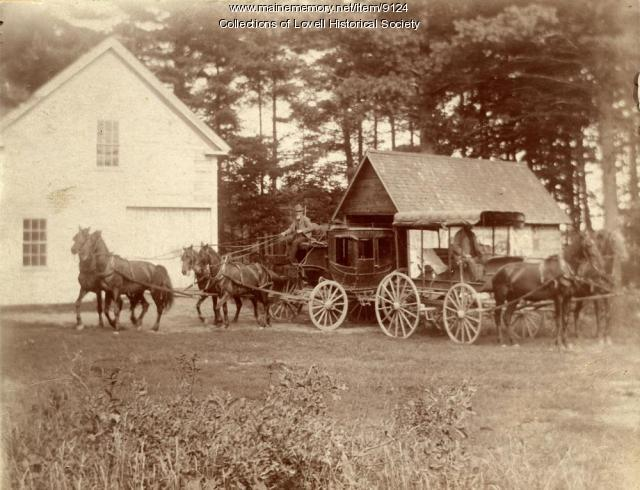 Stagecoach and wagon, North Lovell, ca. 1900
