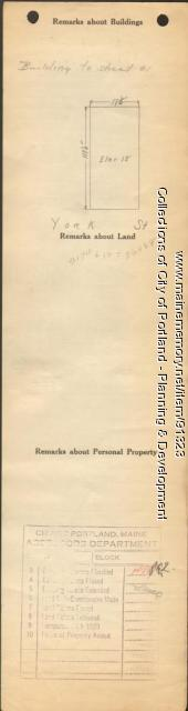 Assessor's Record, 121-125 York Street, Portland, 1924