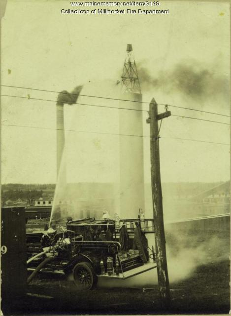 Pumper training, Millinocket, ca. 1920