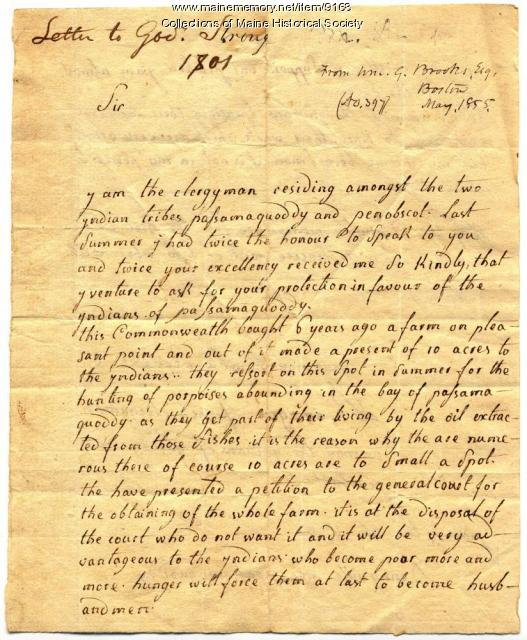 Letter to Governor Caleb Strong from French missionary Romagne