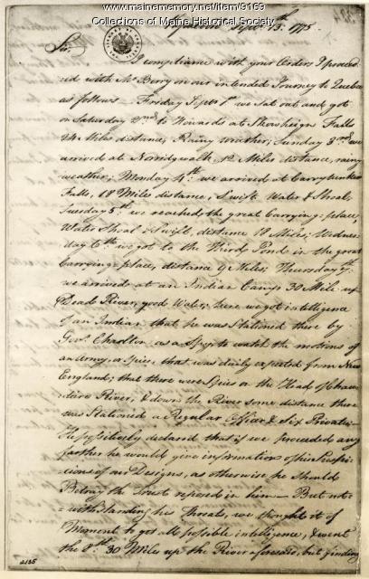 Reuben Colburn letter about Benedict Arnold march, 1775