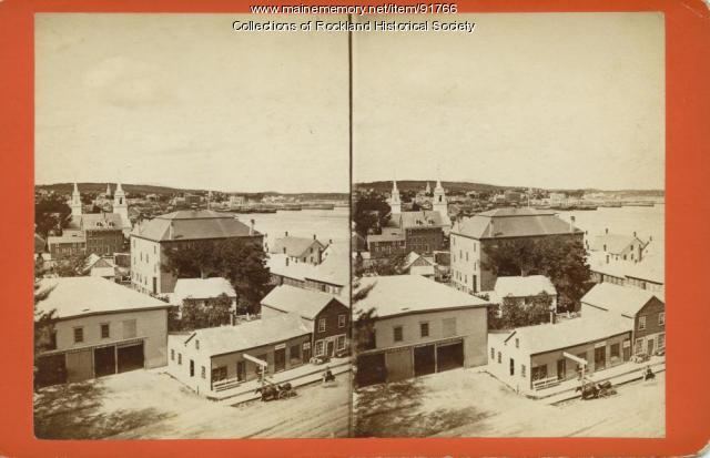 View north from top of custom house, Rockland, ca. 1875