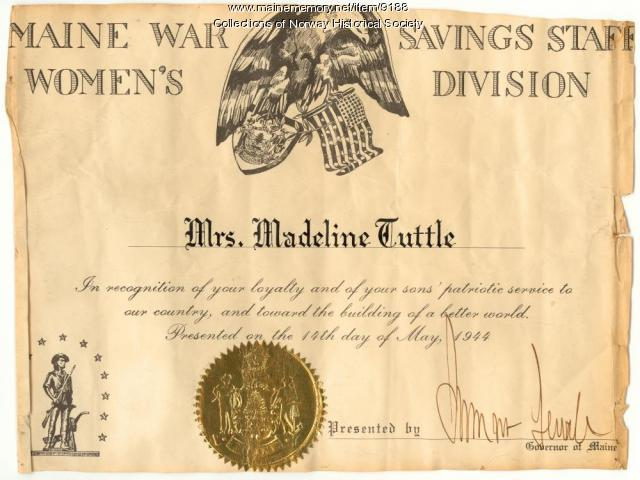Certificate of recognition, Madeline Tuttle, Norway, 1944