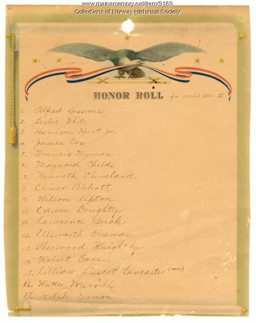 Honor Roll, Norway Grange, 1945