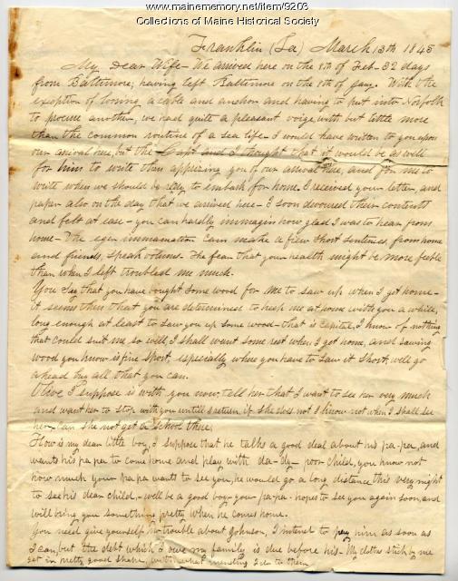 Capt. John Davison letter to wife, 1845