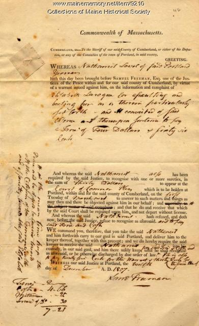 Court document concerning assault, December 12, 1807