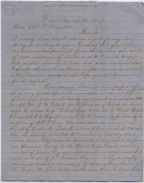 Asa Getchell letter to Charles P. Chandler, 1857