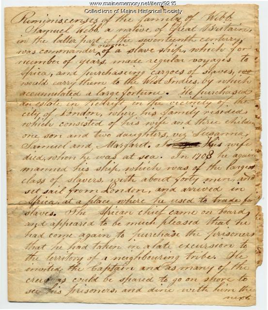 Webb family reminiscences about Samuel Webb, ca. 1842