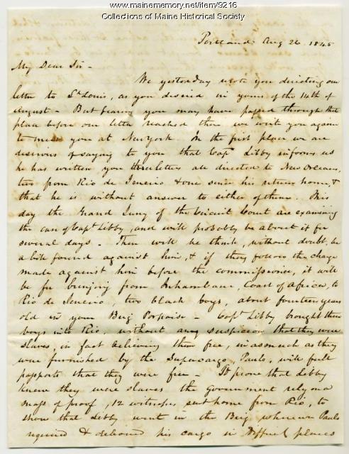 Letter to George Richardson from Fessenden & Deblois, 1845