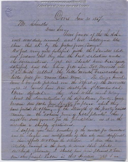 Letter to Charles P. Chandler from C.H.B. Woodbury, Jan. 21, 1857