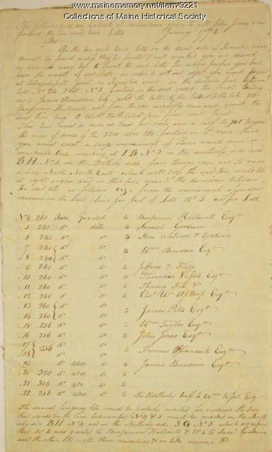 Copy of a letter on backlots near Kennebec River, 1774