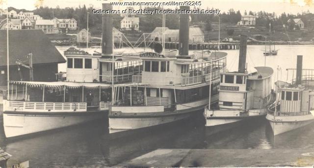 Steamboats Wiwurna, Nahanada, Samoset, and Winter Harbor in Boothbay Harbor, 1890