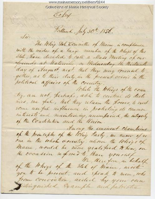 Letter from E.W. Farley to Rufus Choate, July 30, 1856