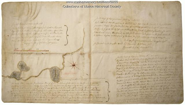 Early map of the Salmon Falls River in Lebanon, Maine