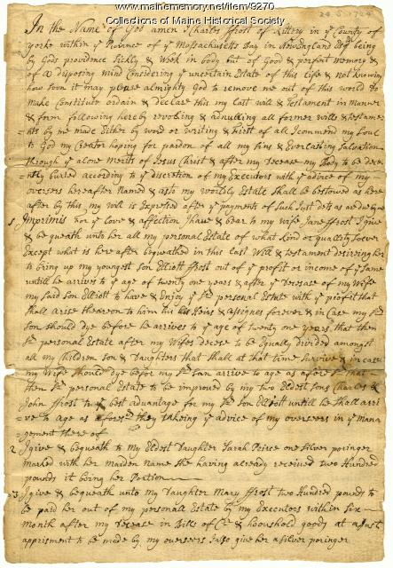 Will of Charles Frost, 1724