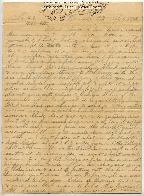 Willis M. Porter letter about Lee surrender, 1865