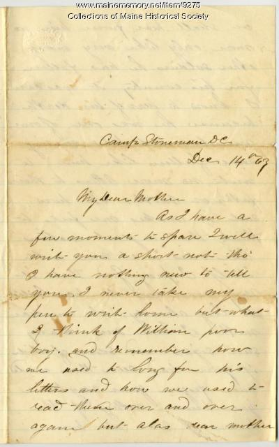 John Sheahan letter on brother's death, Dec. 14, 1863