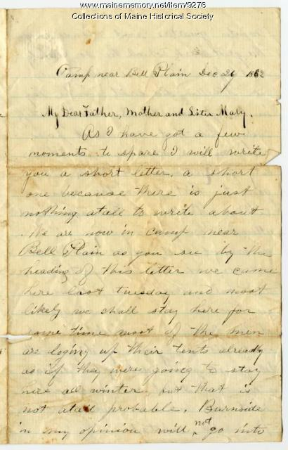 Letter, John Sheahan to his family in Dennysville, 1862
