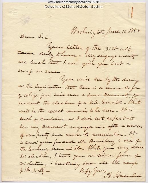 Letter from Hannibal Hamlin, June 10, 1850