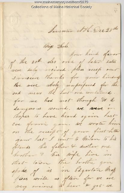 Letter from William Heath to Ellen Forbes, ca. 1862