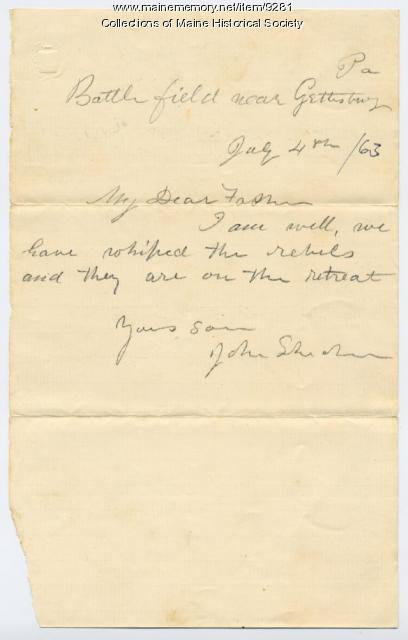 Letter from John Sheahan to his father, July 4, 1863