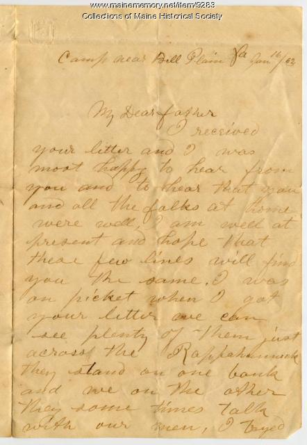 John Sheahan letter from Belle Plain, Virginia, 1863
