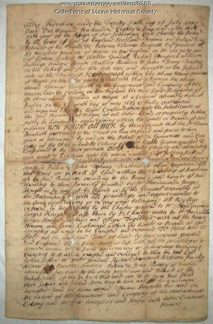 Land deed granted by Thomas Danforth, July 26, 1684