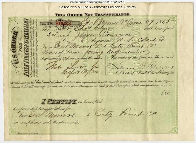 James Lawrence transportation pass, June 29, 1865