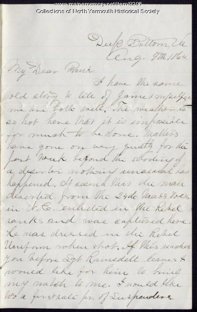 Letter from Luther Lawrence to Frank, August 9, 1864