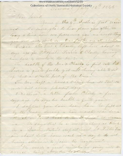 Letter from Nathaniel Lawrence to his son, James, July 16, 1865
