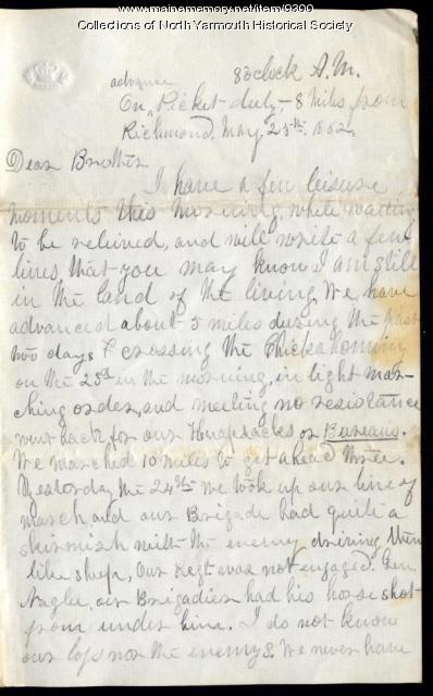 Letter from Luther Lawrence to his brother, May 25, 1862