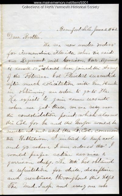 Letter from Luther Lawrence to his father, June 2, 1861