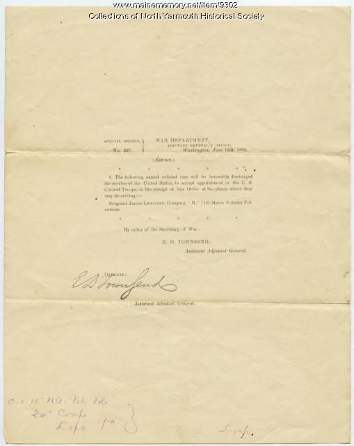 James Lawrence reassignment order, 1865