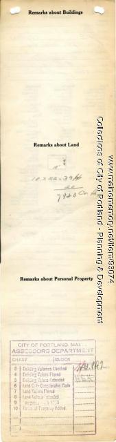 Assessor's Record, Mill, Browns Wharf, Portland, 1924