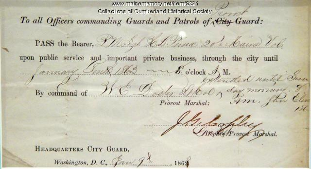 Military pass for H.L. Prince of the 20th Maine vol., Jan. 10, 1863