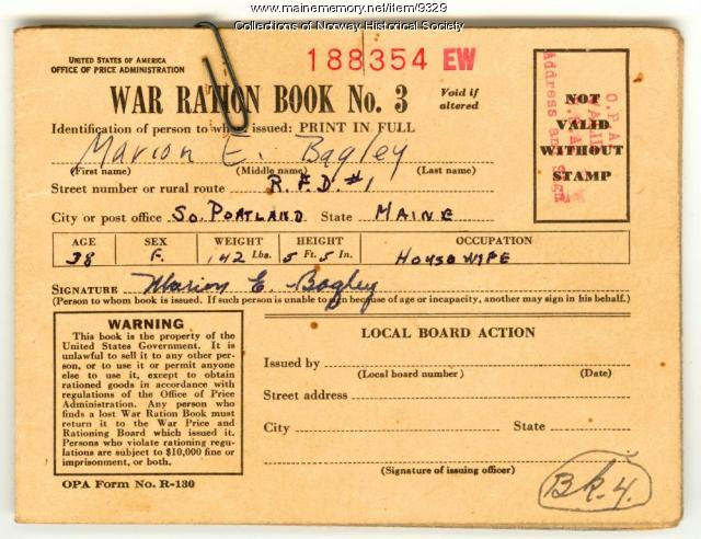 World War II ration book,1943