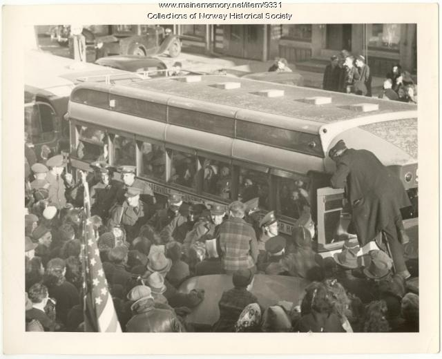 Local National Guard Engineers leaving for WWII, Norway, 1943
