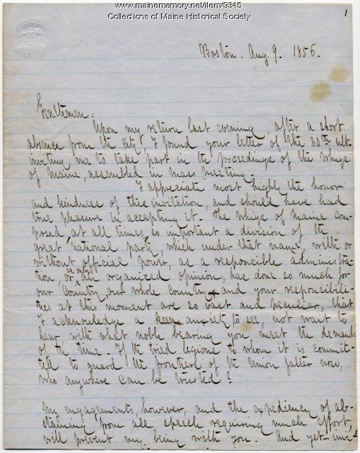 Rufus Choate letter declining invitation to speak, 1856