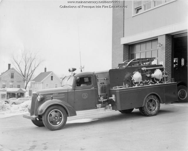 1937 Chevrolet fire truck, Presque Isle, ca. 1959