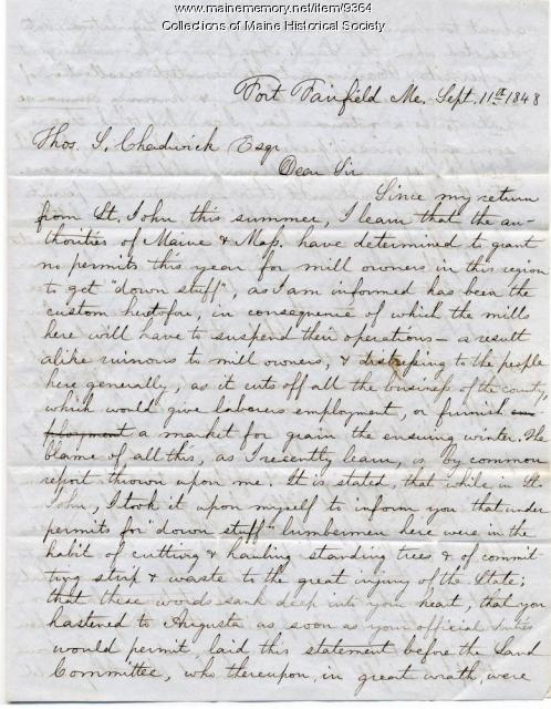 Letter from George A. Nourse to Thomas Chadwick, Sept. 11, 1848