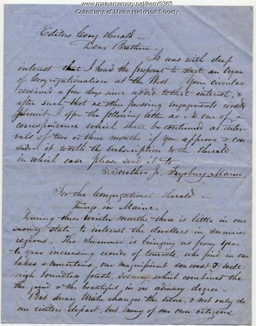 Samuel Souther Jr. Congregational newsletter item, Fryeburg, ca. 1850
