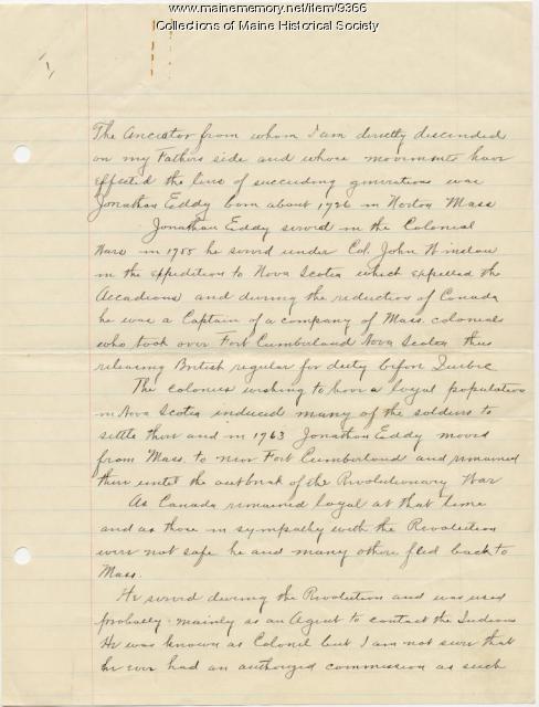 Edwin H. Eddy on visit to logging camp, 1880